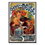 Anuncio 1897 de la cerveza de Nouveau del arte Póster