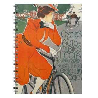 Anuncio 1898 del vehículo de Bélgica Spiral Notebooks