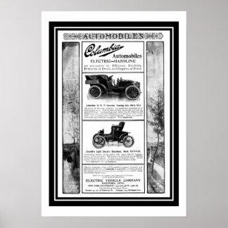 Anuncio 1903 del coche de Columbia del poster