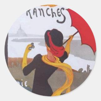 Anuncio 1910 del viaje del francés del vintage pegatina redonda