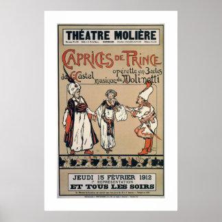 Anuncio 1912 de la opereta de Moliere Bruselas del Póster