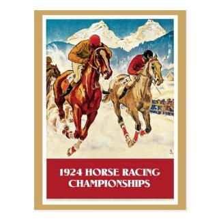 Anuncio 1924 de la carrera de caballos del vintage postal