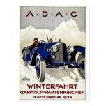 Anuncio 1925 del automóvil del vintage de ADAC Postal