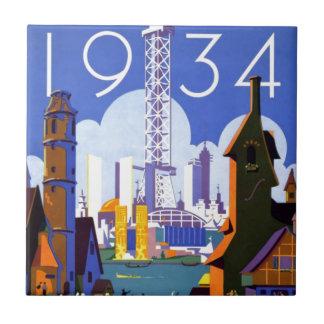 Anuncio 1934 de la feria de mundo de Chicago del v Azulejo Cuadrado Pequeño
