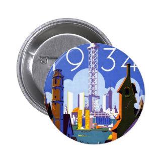 Anuncio 1934 de la feria de mundo de Chicago del v Pin Redondo 5 Cm