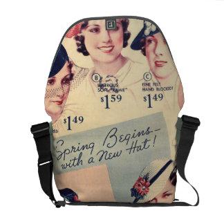 Anuncio 1936 del gorra de la moda del vintage bolsas de mensajería