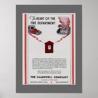 Anuncio 1940 de la caja del fuego de Gamewell Impresiones