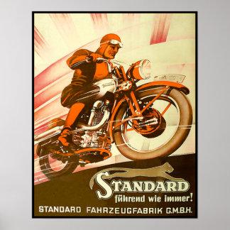 Anuncio alemán de la motocicleta del vintage póster