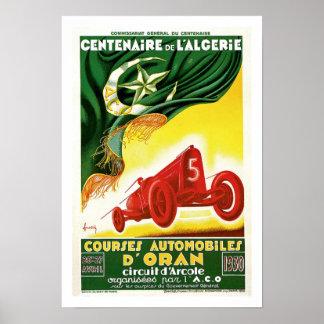 Anuncio argelino francés de la raza auto del vinta póster
