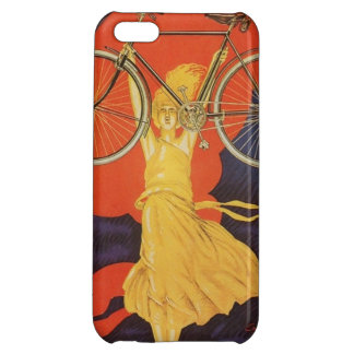 Anuncio artístico de París de la mujer de la bici