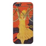 Anuncio artístico de París de la mujer de la bici  iPhone 5 Fundas