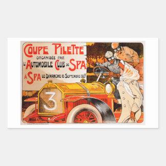 Anuncio auto del coche del automóvil del vintage pegatina rectangular