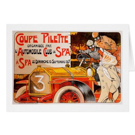 Anuncio auto del coche del automóvil del vintage tarjeta de felicitación