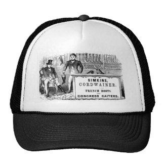 Anuncio blanco y negro de la bota gorras de camionero