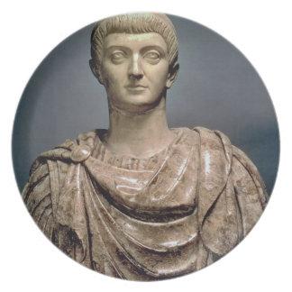 ANUNCIO c.350 de Constantina I (c.274-337) (mármol Plato Para Fiesta