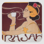 Anuncio caliente de la bebida del café del vintage calcomania cuadrada personalizada