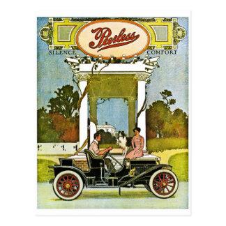 Anuncio clásico del coche del vintage Peerless Postal