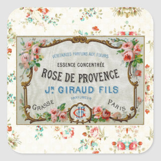 Anuncio color de rosa francés antiguo pegatina cuadrada