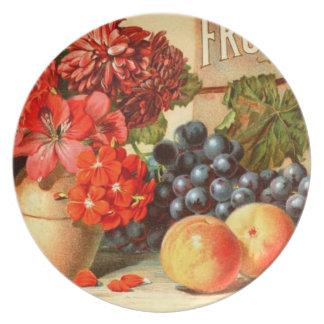 Anuncio colorido de la sal de la fruta plato de comida