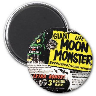 Anuncio cómico del vintage del kitsch del monstruo imán redondo 5 cm
