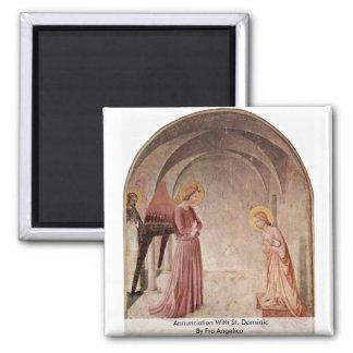 Anuncio con St Dominic por Fra Angelico Imán Cuadrado