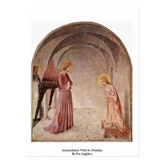 Anuncio con St Dominic por Fra Angelico Postal