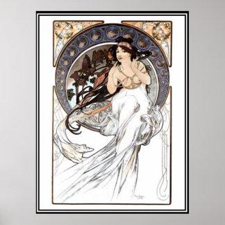 Anuncio de Alfonso Mucha del poster del vintage