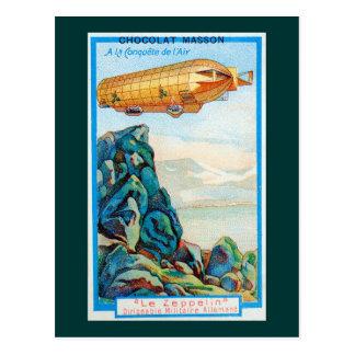 Anuncio de Chocolat Masson con el dirigible del ze Postal
