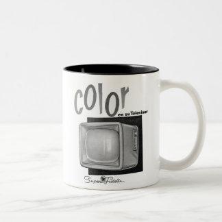 Anuncio de Europa de los años 60 del color B&W TV Taza De Dos Tonos