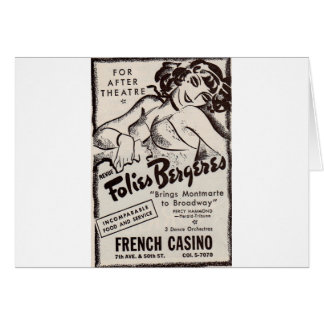 anuncio de Folies Bergere de los años 30 Tarjeta De Felicitación