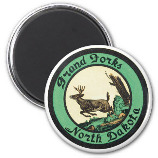 Anuncio de Grand Forks Dakota del Norte Imán Redondo 5 Cm