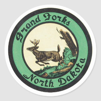 Anuncio de Grand Forks Dakota del Norte Pegatina Redonda