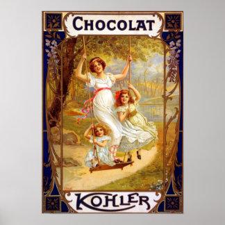 Anuncio de Kohler Chocolat del vintage Póster