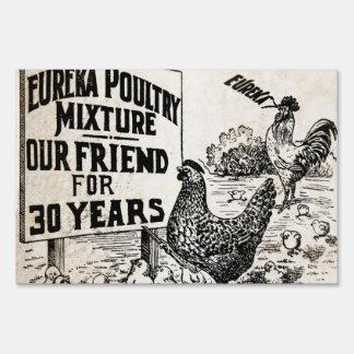 Anuncio de la alimentación de pollo del vintage señales
