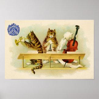 Anuncio de la banda del músico del gato del vintag póster