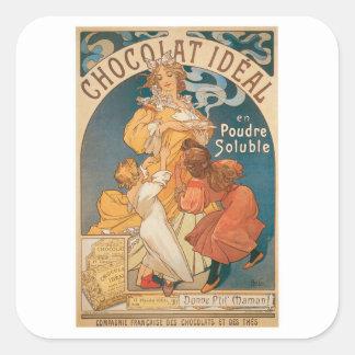 Anuncio de la bebida del chocolate caliente del pegatina cuadrada