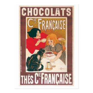 Anuncio de la bebida del chocolate caliente del tarjeta postal