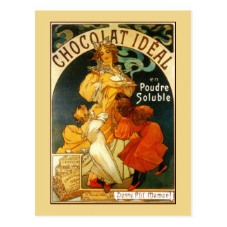 Anuncio de la bebida del chocolate de Mucha del Tarjetas Postales