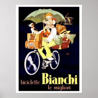 Anuncio de la bicicleta de Bianchi del italiano Póster