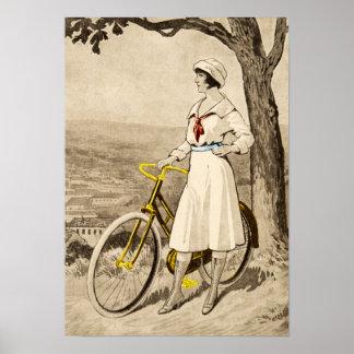 Anuncio de la bicicleta de la mujer de los años 20 posters