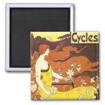 Anuncio de la bicicleta de Nouveau del arte del vi Iman