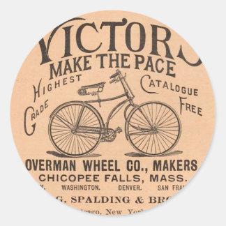 Anuncio de la bicicleta del Victorian del vintage Pegatina Redonda