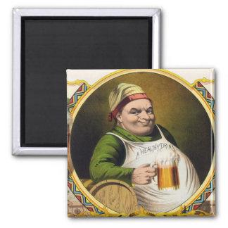 Anuncio de la cerveza de cerveza dorada del vintag imán cuadrado