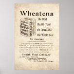 Anuncio de la comida sana de Wheatena del vintage  Poster