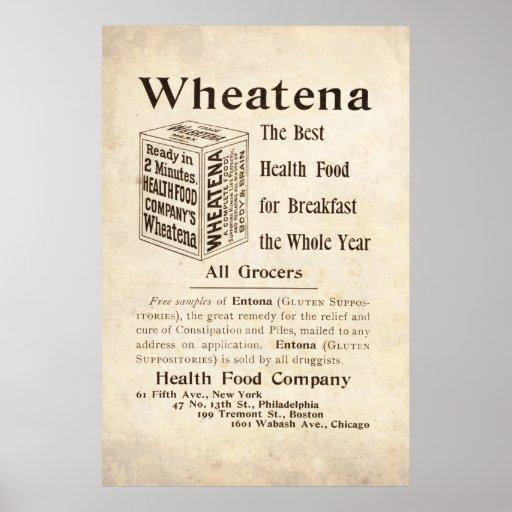 Anuncio de la comida sana de Wheatena del vintage  Póster