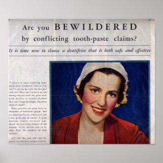 Anuncio de la crema dental del vintage posters
