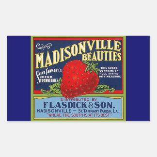 Anuncio de la fresa del LA de Madisonville del Pegatina Rectangular