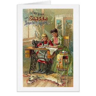 Anuncio de la máquina de coser del cantante la pr felicitaciones