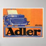 Anuncio de la máquina de escribir de Adler del vin Póster