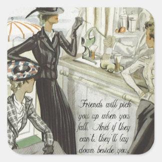 Anuncio de la moda del vintage:  Amistad Pegatina Cuadradas Personalizada
